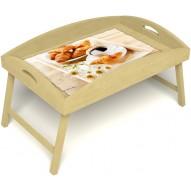 Столик для завтрака в постель «Русская берёза», «Французский завтрак» с высоким бортиком цвет светлый