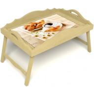 Столик для завтрака в постель «Русская берёза», «Французский завтрак» с фигурным бортиком цвет светлый