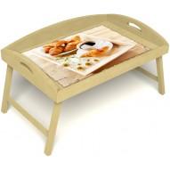 Столик для завтрака в постель «Русская берёза», «Французский завтрак» с 3-мя высокими бортиками цвет светлый