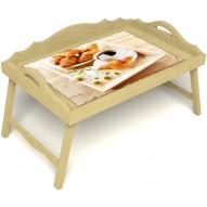 Столик для завтрака в постель «Русская берёза», «Французский завтрак» с 3-мя фигурными бортиками цвет светлый