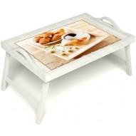 Столик для завтрака в постель «Французский завтрак» с ручками цвет белый