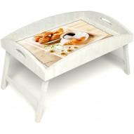 Столик для завтрака в постель «Русская берёза», «Французский завтрак» с высоким бортиком цвет белый