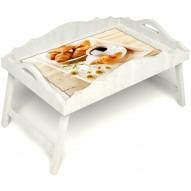 Столик для завтрака в постель «Русская берёза», «Французский завтрак» с фигурным бортиком цвет белый