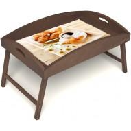 Столик для завтрака в постель «Русская берёза», «Французский завтрак» с высоким бортиком цвет орех