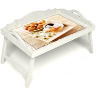 Столик для завтрака в постель «Русская берёза», «Французский завтрак» с 3-мя фигурными бортиками цвет белый