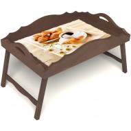 Столик для завтрака в постель «Русская берёза», «Французский завтрак» с фигурным бортиком цвет орех