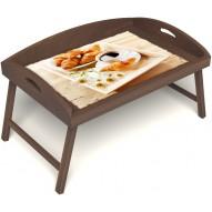 Столик для завтрака в постель «Русская берёза», «Французский завтрак» с 3-мя высокими бортиками цвет орех