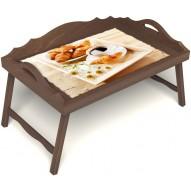 Столик для завтрака в постель «Русская берёза», «Французский завтрак» с 3-мя фигурными бортиками цвет орех