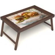 Столик для завтрака в постель «Русская берёза», «Гамбургеры» без ручек цвет орех