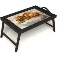 Столик для завтрака в постель «Гамбургеры» с ручками цвет венге