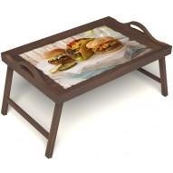 Столик для завтрака в постель «Гамбургеры» с ручками цвет орех
