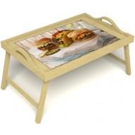 Столик для завтрака в постель «Гамбургеры» с ручками цвет светлый