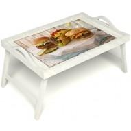 Столик для завтрака в постель «Гамбургеры» с ручками цвет белый