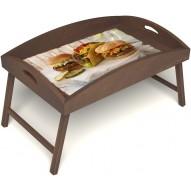 Столик для завтрака в постель «Гамбургеры» с высоким бортиком цвет орех