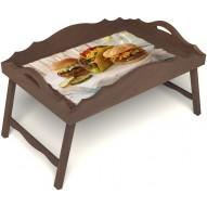 Столик для завтрака в постель «Русская берёза», «Гамбургеры» с фигурным бортиком цвет орех