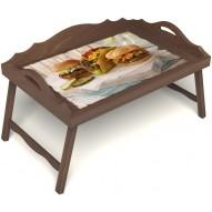 Столик для завтрака в постель «Гамбургеры» с 3-мя фигурными бортиками цвет орех