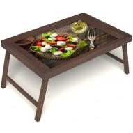 Столик для завтрака в постель «Русская берёза», «Греческий завтрак» без ручек цвет орех