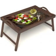 Столик для завтрака в постель «Русская берёза», «Греческий завтрак» с ручками цвет орех