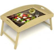 Столик для завтрака в постель «Русская берёза», «Греческий завтрак» с высоким бортиком цвет светлый