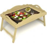 Столик для завтрака в постель «Русская берёза», «Греческий завтрак» с фигурным бортиком цвет светлый