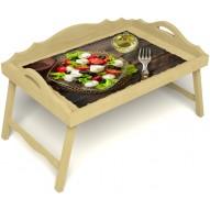 Столик для завтрака в постель «Русская берёза», «Греческий завтрак» с 3-мя фигурными бортиками цвет светлый