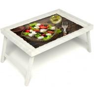 Столик для завтрака в постель «Русская берёза», «Греческий завтрак» без ручек цвет белый