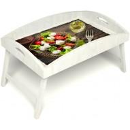 Столик для завтрака в постель «Русская берёза», «Греческий завтрак» с высоким бортиком цвет белый