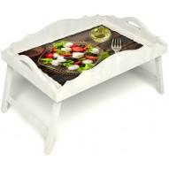 Столик для завтрака в постель «Русская берёза», «Греческий завтрак» с фигурным бортиком цвет белый