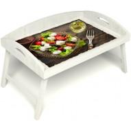 Столик для завтрака в постель «Русская берёза», «Греческий завтрак» с 3-мя высокими бортиками цвет белый