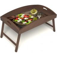 Столик для завтрака в постель «Русская берёза», «Греческий завтрак» с высоким бортиком цвет орех