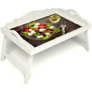 Столик для завтрака в постель «Русская берёза», «Греческий завтрак» с 3-мя фигурными бортиками цвет белый