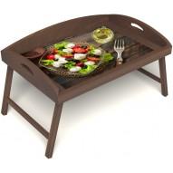 Столик для завтрака в постель «Русская берёза», «Греческий завтрак» с 3-мя высокими бортиками цвет орех
