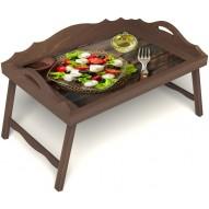 Столик для завтрака в постель «Греческий завтрак» с 3-мя фигурными бортиками цвет орех