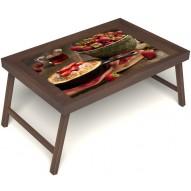 Столик для завтрака в постель «Клубничка» без ручек цвет орех