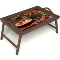 Столик для завтрака в постель «Клубничка» с ручками цвет орех