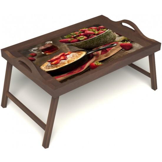 Столик для завтрака в постель «Русская берёза», «Клубничка» с ручками цвет орех