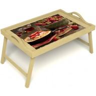 Столик для завтрака в постель «Клубничка» с ручками цвет светлый