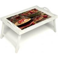 Столик для завтрака в постель «Клубничка» с ручками цвет белый