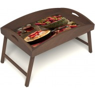 Столик для завтрака в постель «Русская берёза», «Клубничка» с высоким бортиком цвет орех