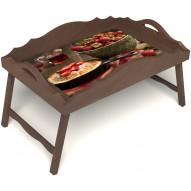 Столик для завтрака в постель «Русская берёза», «Клубничка» с фигурным бортиком цвет орех