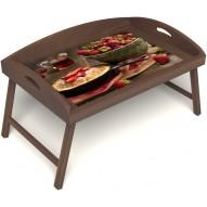 Столик для завтрака в постель «Русская берёза», «Клубничка» с 3-мя высокими бортиками цвет орех