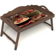 Столик для завтрака в постель «Клубничка» с 3-мя фигурными бортиками цвет орех