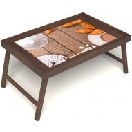 Столик для завтрака в постель «Круассаны» без ручек цвет орех