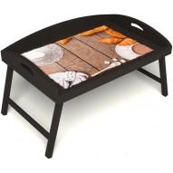 Столик для завтрака в постель «Русская берёза», «Круассаны» с 3-мя высокими бортиками цвет венге