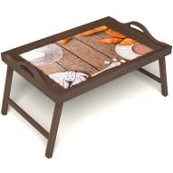 Столик для завтрака в постель «Круассаны» с ручками цвет орех