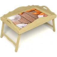 Столик для завтрака в постель «Русская берёза», «Круассаны» с фигурным бортиком цвет светлый