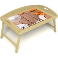Столик для завтрака в постель «Русская берёза», «Круассаны» с 3-мя высокими бортиками цвет светлый