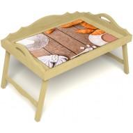 Столик для завтрака в постель «Русская берёза», «Круассаны» с 3-мя фигурными бортиками цвет светлый