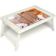 Столик для завтрака в постель «Русская берёза», «Круассаны» без ручек цвет белый