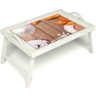 Столик для завтрака в постель «Круассаны» с ручками цвет белый